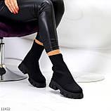 Ультра модні еластичні текстильні високі жіночі черевики на товстій підошві 39-25см, фото 6