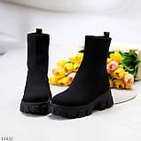 Ультра модні еластичні текстильні високі жіночі черевики на товстій підошві 39-25см, фото 7