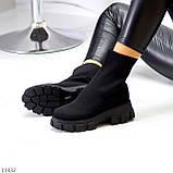 Ультра модні еластичні текстильні високі жіночі черевики на товстій підошві 39-25см, фото 8