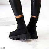 Ультра модні еластичні текстильні високі жіночі черевики на товстій підошві 39-25см, фото 9