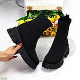 Ультра модні еластичні текстильні високі жіночі черевики на товстій підошві 39-25см, фото 10