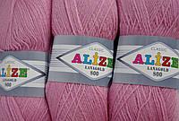 Пряжа нитки для вязания Lanagold Ланаголд 800 полушерсть нежно-розовый