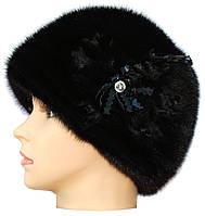 """Женская норковая  шапка """" Молдаванка""""  цвет черный"""