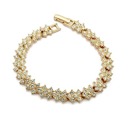 Браслет ювелирная бижутерия золото 18К декор кристаллы Swarovski