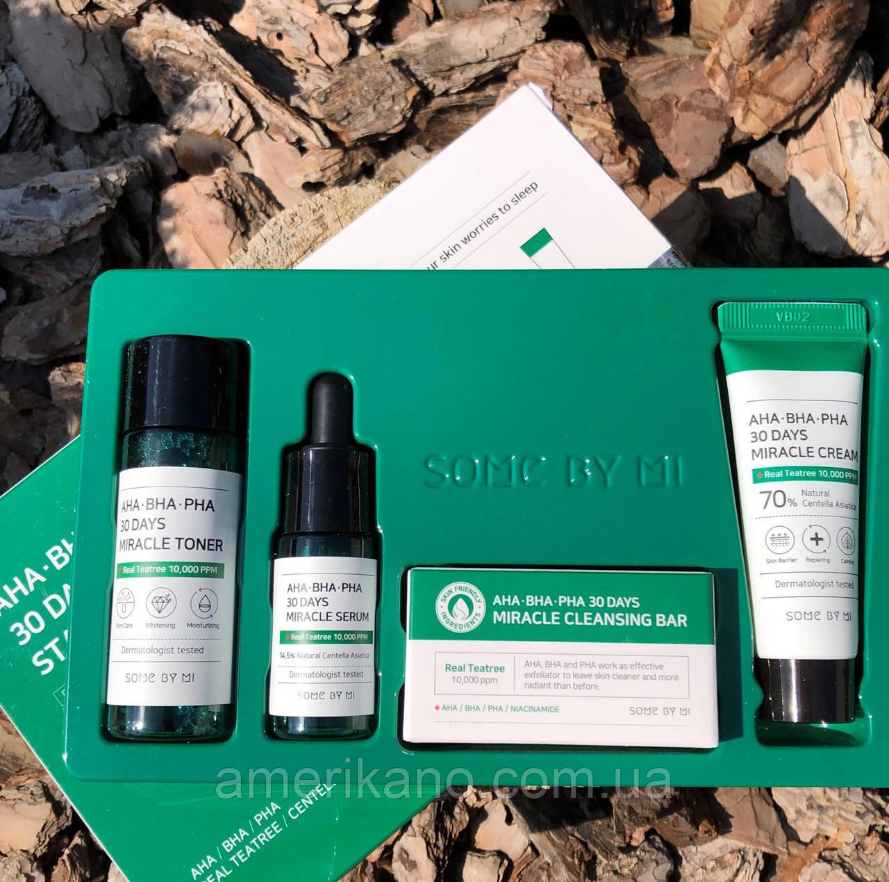 Набор корейских кислотных средств для проблемной кожи Some By Mi Aha, Bha, Pha 30 Days Miracle Starter Set