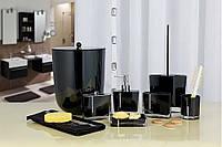 Набор аксессуаров в ванную комнату из 7 предметов Roma черного цвета со стразами