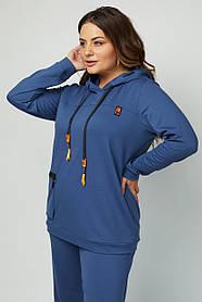 Модная удлиненная толстовка с капюшоном Большие размеры 50-60