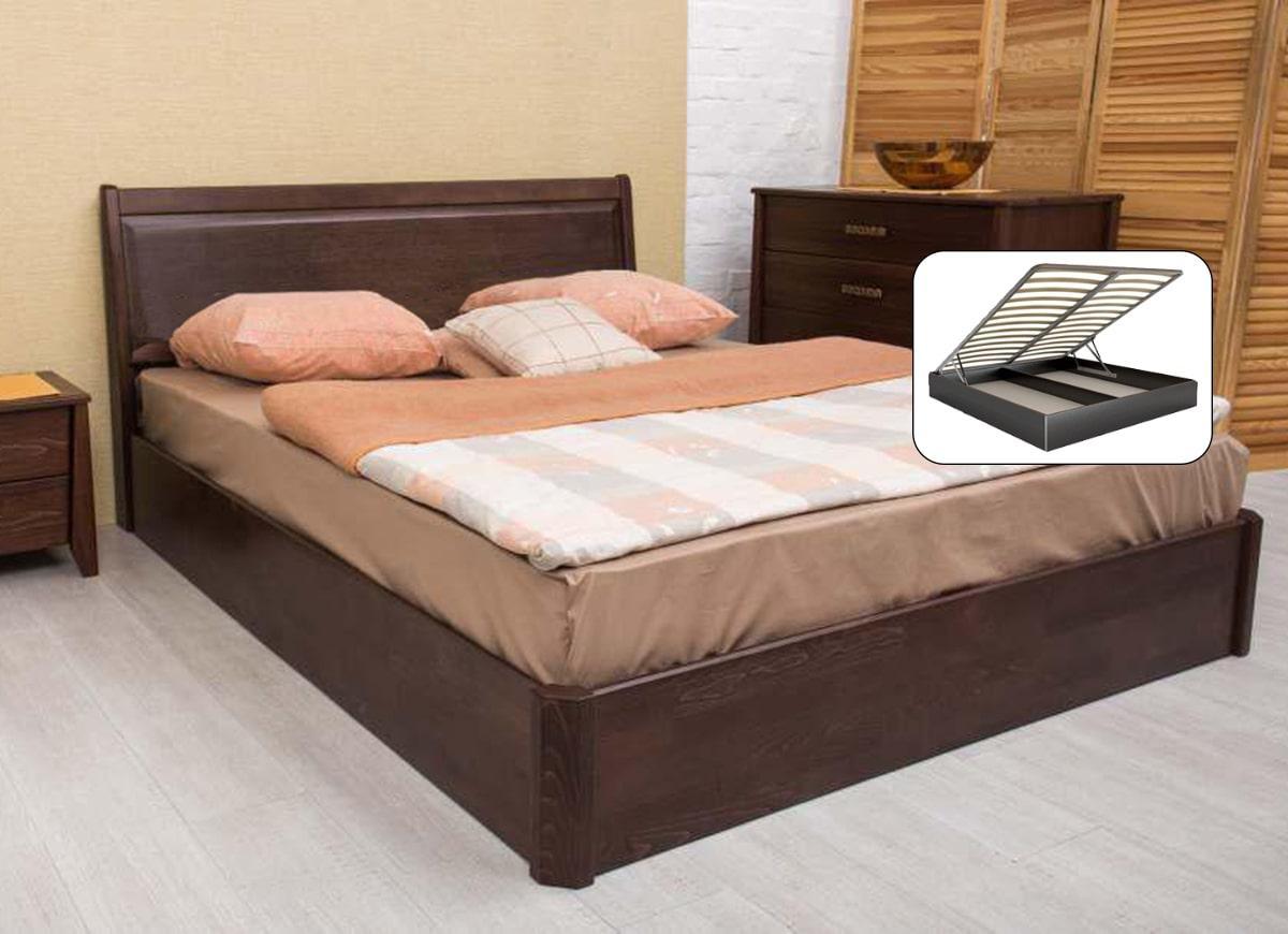 Деревянная кровать из бука  Олимп СИТИ с филенкой и подъемным механизмом