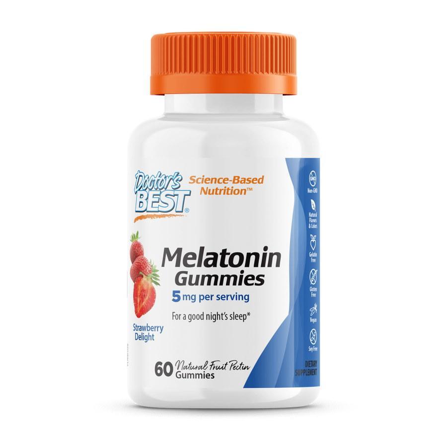Восстановитель Doctor's Best Melatonin 5 mg, 60 желеек - клубника