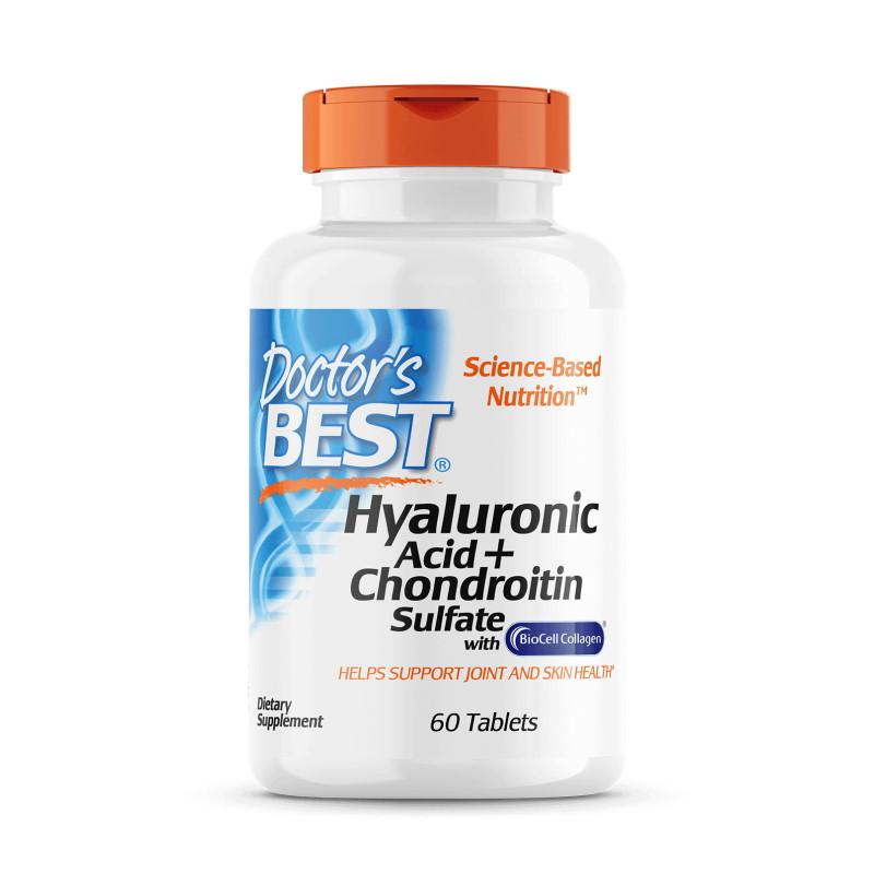 Для суставов и связок Doctor's Best Hyaluronic Acid with Chondroitin Sulfate, 60 таблеток