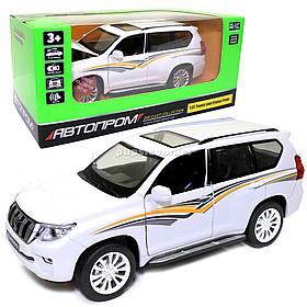 Игрушечная машинка металлическая «Toyota Land Cruiser Prado» Автопром Тойота джип, белый, 14*5*5 см, (68482)