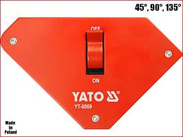 Струбцина магнитная для сварки 22,5 кг с выключателем Yato YT-0869