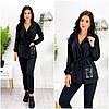 Повсякденний костюм жіночий чорний з двуніткі (5 кольорів) ЕФ/-12701