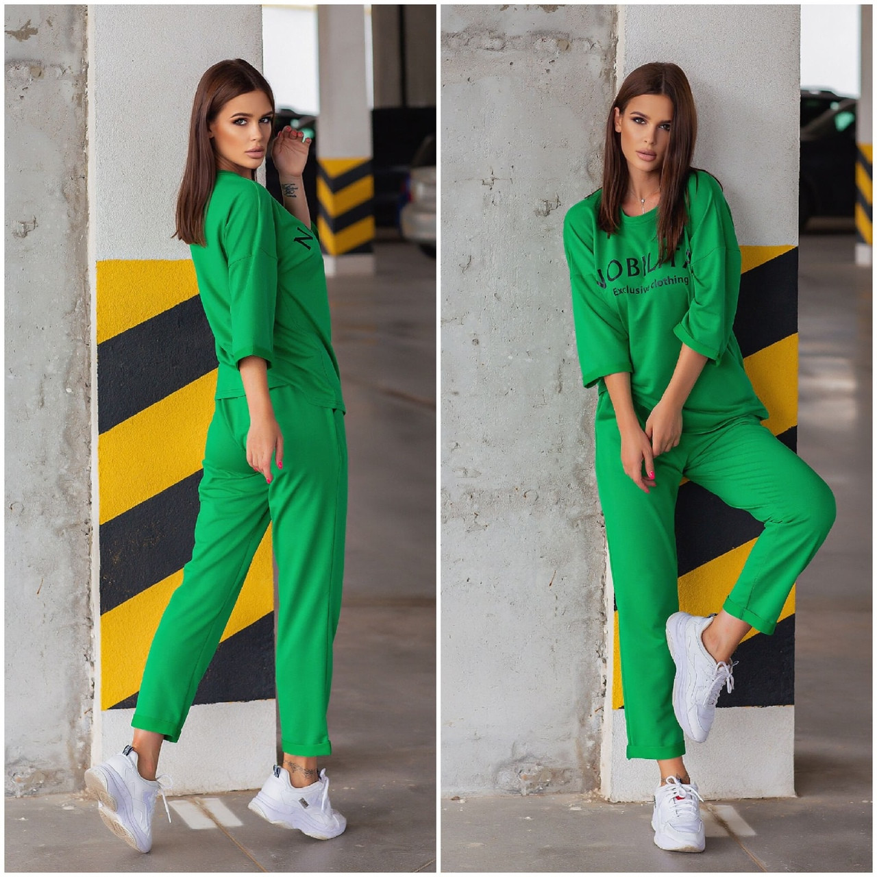 Спортивний костюм жіночий NOBILITAS 42 - 48 зелений трикотаж (арт. 21007)