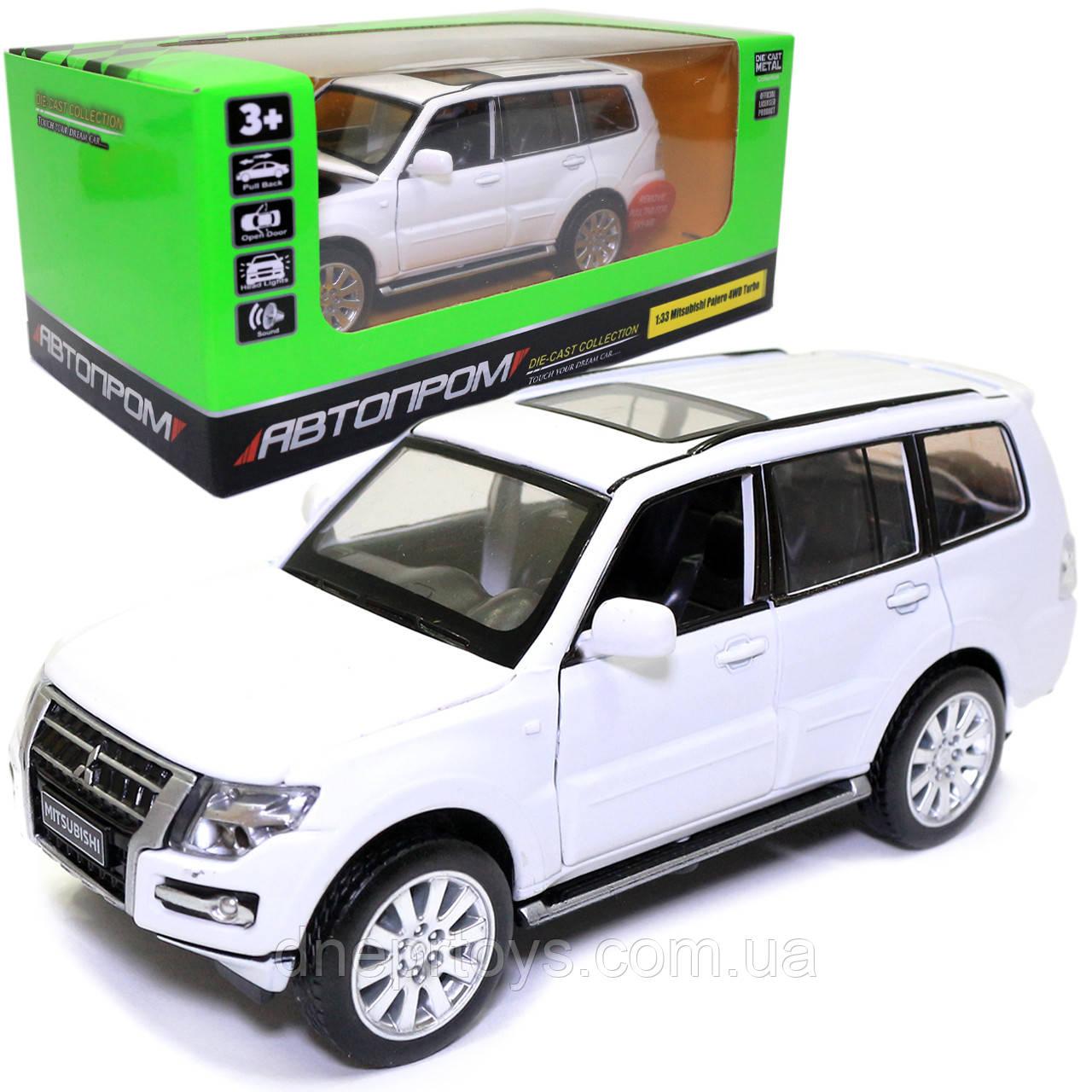 Іграшкова машинка металева «Mitsubishi Pajero 4WD Turbo» Автопром Мітсубісі, білий, 14*5*5 см, (68463)
