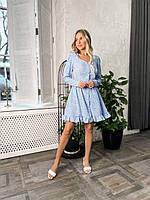 Короткое удобное женское платье в горошек свободного кроя на пуговицах с рюшей по низу, фото 1