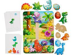 Дерев'яна розвиваюча гра на липучці з картками завданнями Динозаври, Ань-Янь (ПСФ038)