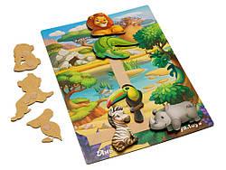 Дерев'яна розвиваюча гра на липучці з картками завданнями Тварини Африка, Ань-Янь (ПСД178)