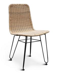 Плетений стілець Cruzo Терра Нуово обідній з натурального ротанга на металевій основі