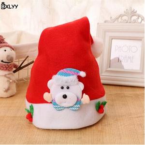 Новорічні шапочки ковпаки BXLYY з персонажами дід мороз Ведмедик блакитний
