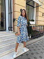 Женское нежное платье из шелкового софта с белыми цветами, талия на резинке под поясок, рукав до локтя батал, фото 1