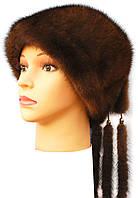 """Зимняя норковая шапка """" Козачек 2"""" цвет  коричневый"""