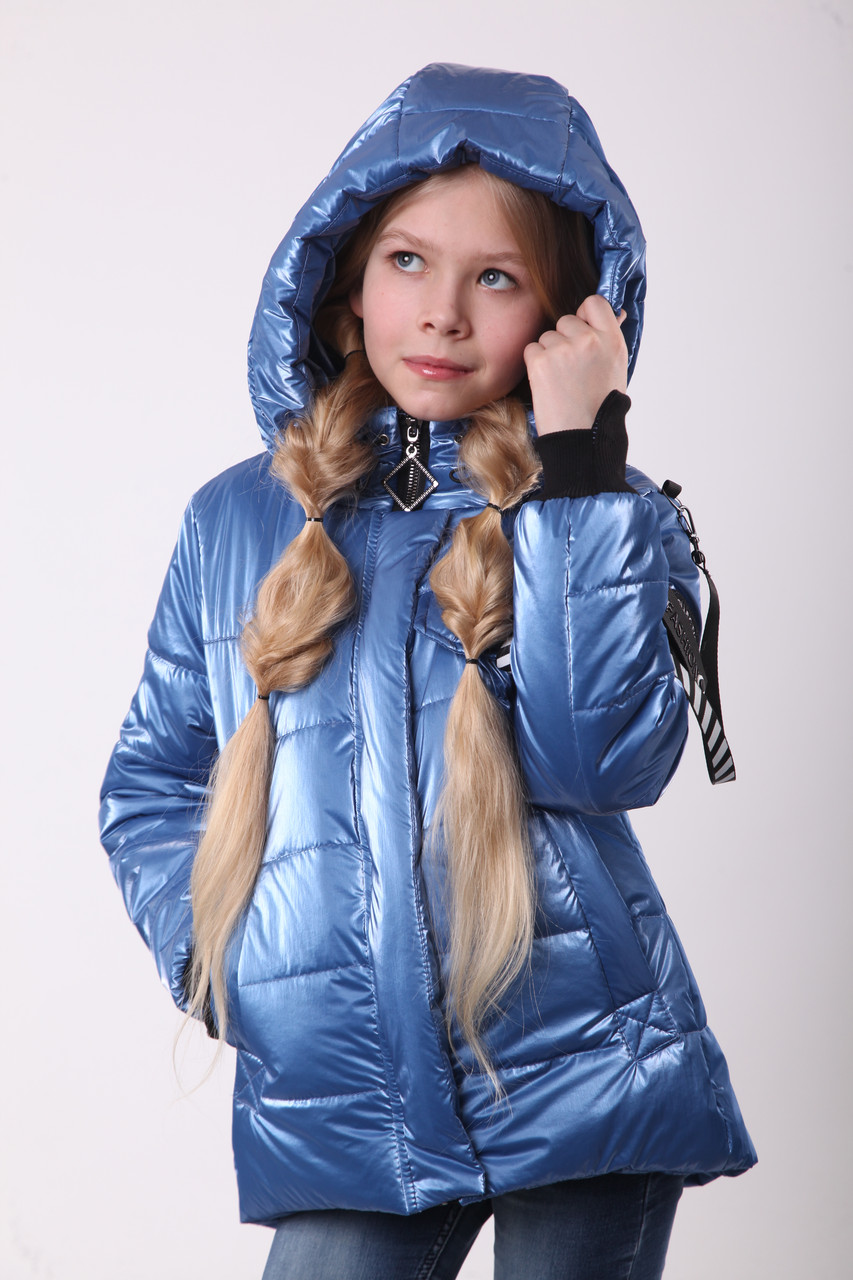 Куртки для девочек весенние рост 134 голубой