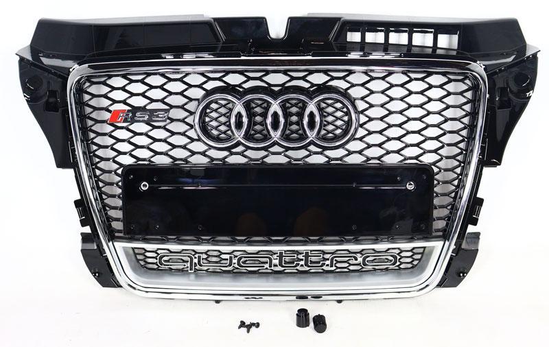 Решітка радіатора Audi A3 2008-2011 стиль RS3 (хром окантовка + Quattro)