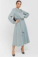 Лаконичное женственное платье Белинда длиной миди из плотного штапеля 42-56 размер разные цвета