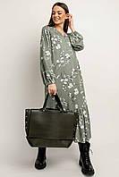 Универсальное платье Глория полуприлегающего силуэта длиной миди 42-56 размер оливковый цвет