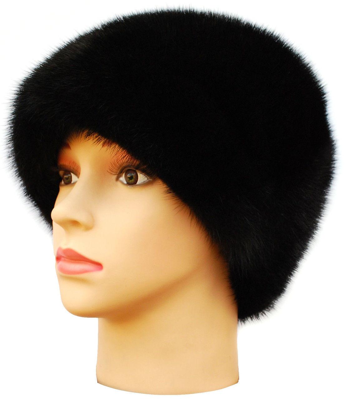 """Норковая женская шапка"""" Козачек """" цвет черный"""