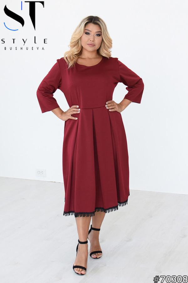 Элегантное трикотажное платье с рукавами 3/4 и юбкой в складку с 50 по 64 размер