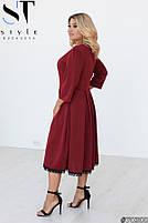 Элегантное трикотажное платье с рукавами 3/4 и юбкой в складку с 50 по 64 размер, фото 3