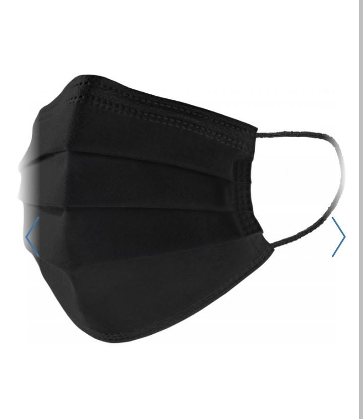 Захисна тришарова маска Black carbon