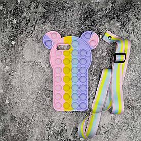 Чехол антистресс Pop It для iPhone 7 Plus силиконовый, Мышонок + ремешок