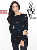 Платье туника с длинным рукавом и воротником хомутом черного цвета Евгения02