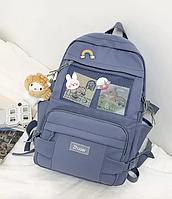 Рюкзак школьный голубой с мишкой