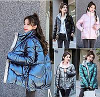 Женская зимняя куртка  с лаковым покрытием, фото 1