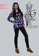 Модный свитшот - туника с капюшоном асимметричного кроя Микки