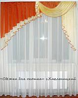 Ламбрикен Ассиметрия 2м Органза кирпичн