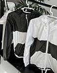 """Женская ветровка, плащевка """"Лакмат"""", р-р 42-44; 44-46 (белый с черным), фото 3"""