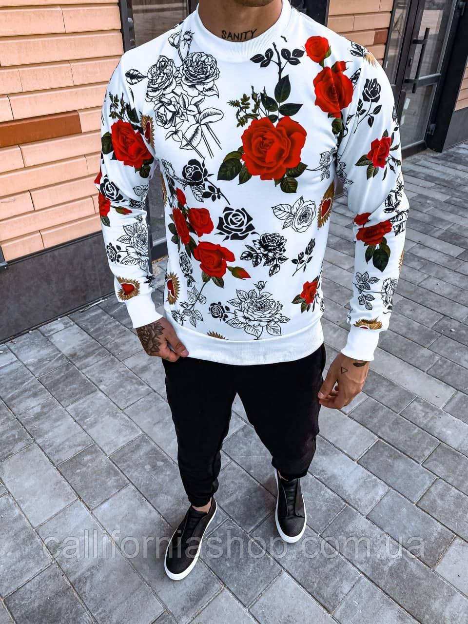 Чоловік світшоти білий молодіжний з яскравим принтом Троянди