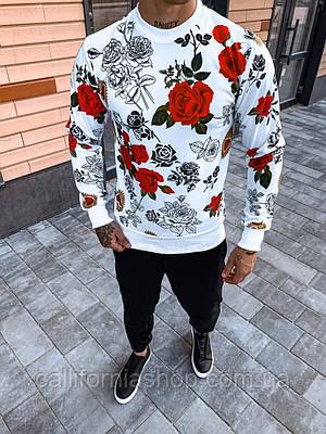 Мужской свитшот белый молодежный с ярким принтом Розы