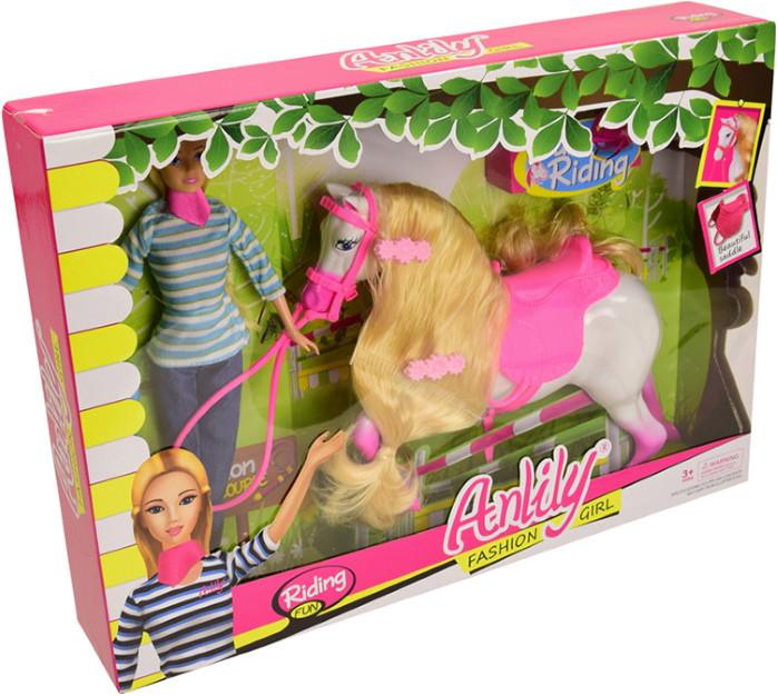 Лялька барбі з донькою на конячці і гіркою слоником