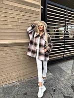 Женская стильная теплая рубашка в клеточку, фото 1