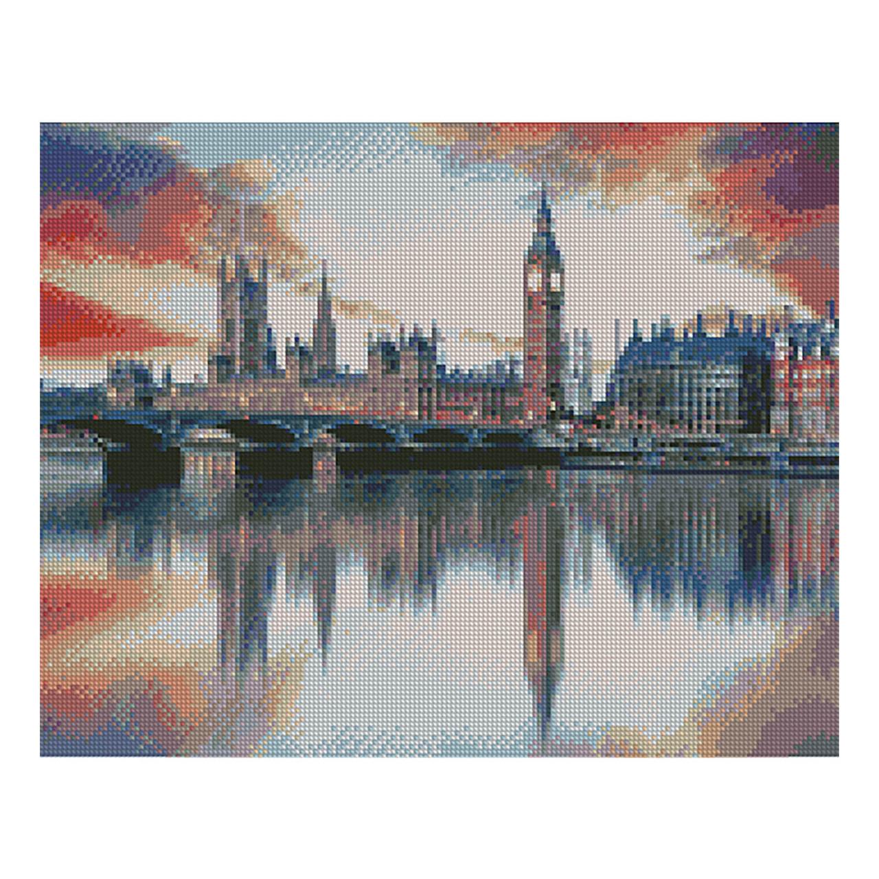 Алмазная вышивка 40x50 см. Отражение Лондона в Темзе Strateg в подарочной коробке