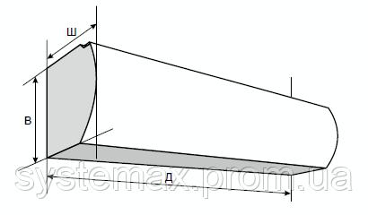 Габариты воздушно-тепловой завесы Тепломаш КЭВ 8П1062Е