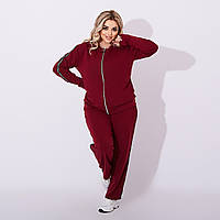 Модный женский спортивный костюм батал, женский комплект штаны кофта Большие размеры бордо