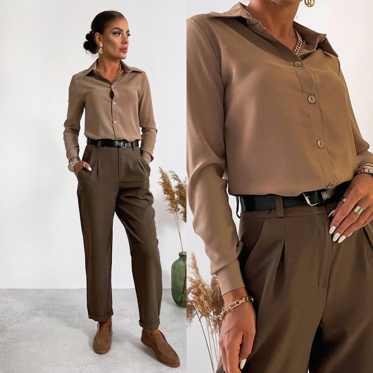 Женская рубашка, рубашечная ткань, р-р 42-44; 44-46 (мокко)