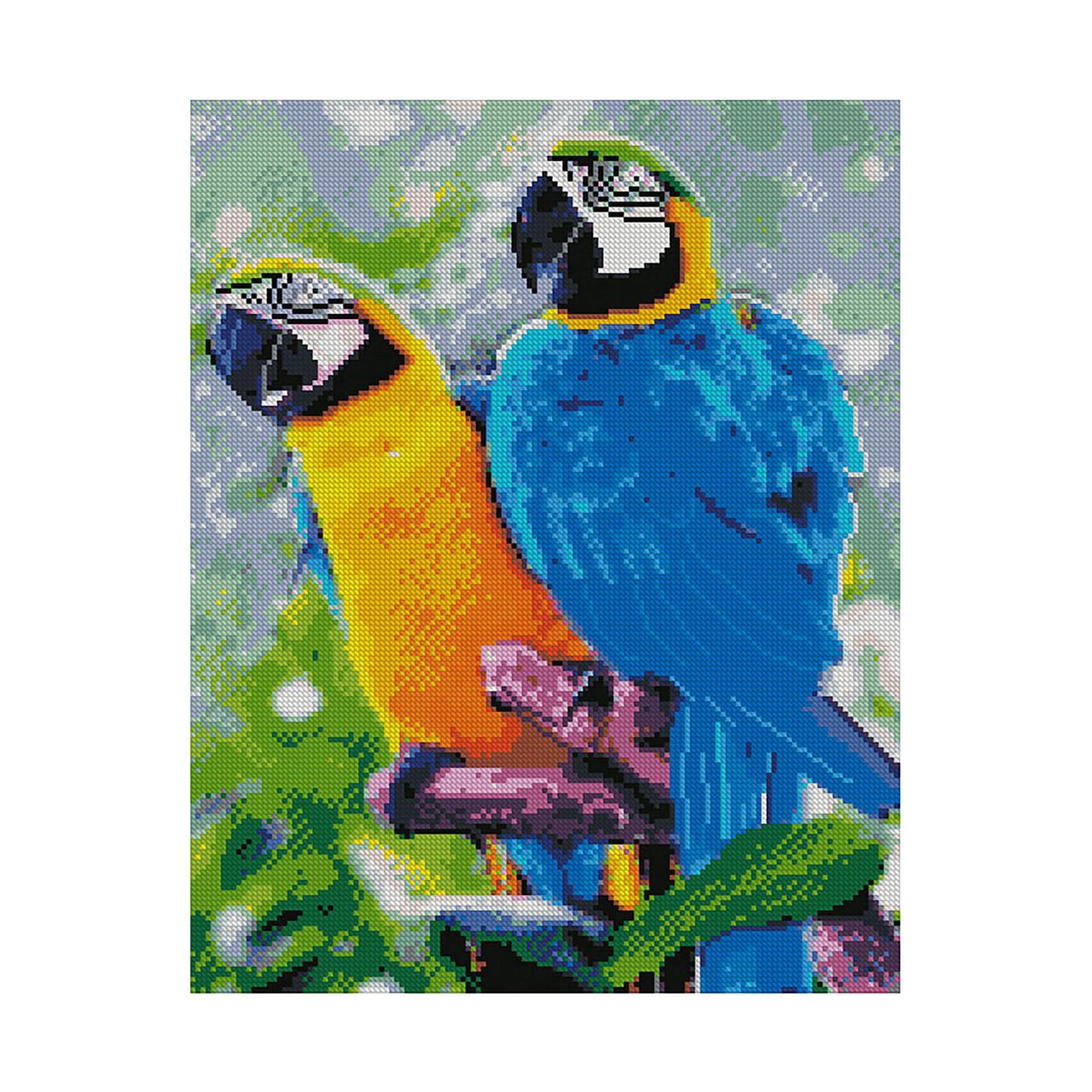 Алмазная вышивка 40x50 см. Яркие попугаи Strateg в подарочной коробке